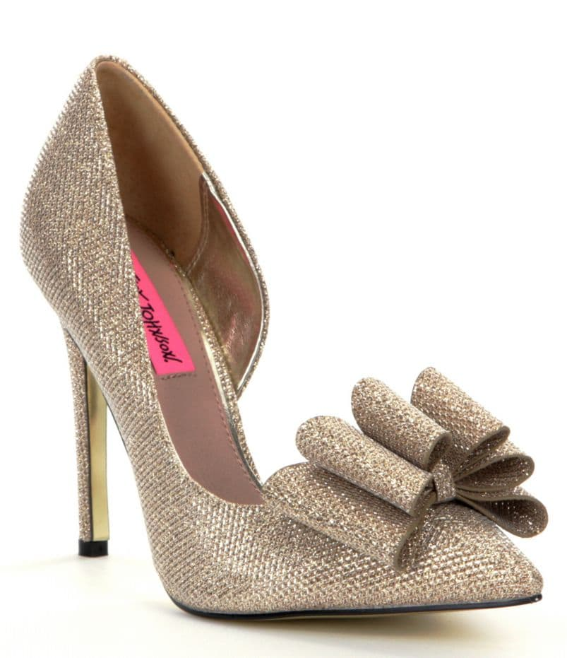 Betsey Johnson Poesy Metallic Bow Pointed-Toe d´Orsay Pumps