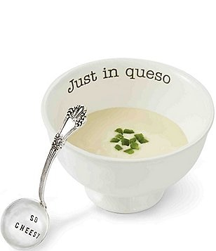 Mud Pie Just In Queso Ceramic & Silver 2-Piece Dip Set