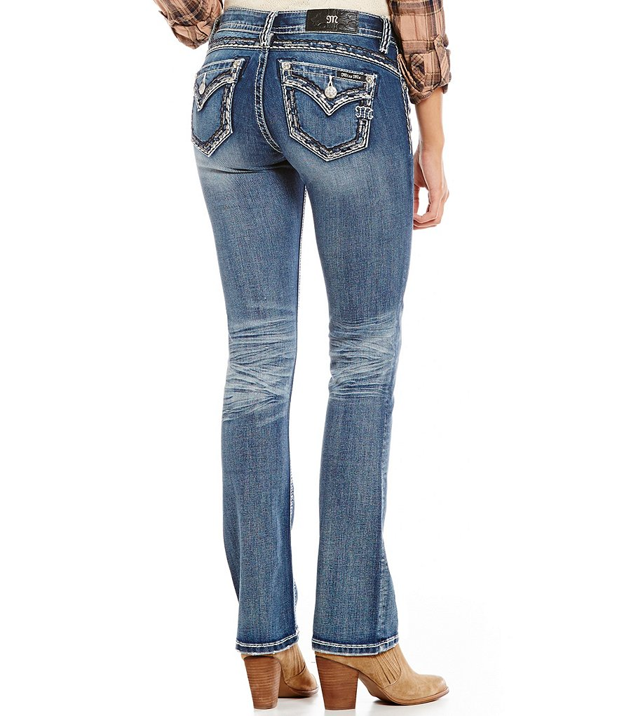 Miss Me Thick-Stitch Mid-Rise Slim Bootcut Jeans