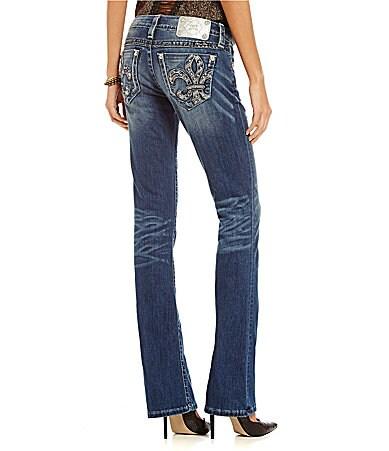 Miss Me Fleur-De-Lis Distressed Bootcut Jeans