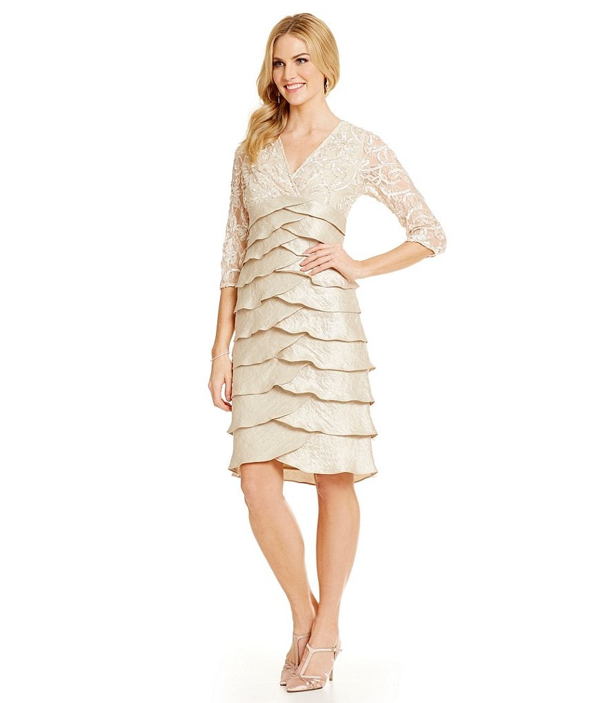 Jessica Howard Soutache-Lace Tiered Sheath Dress