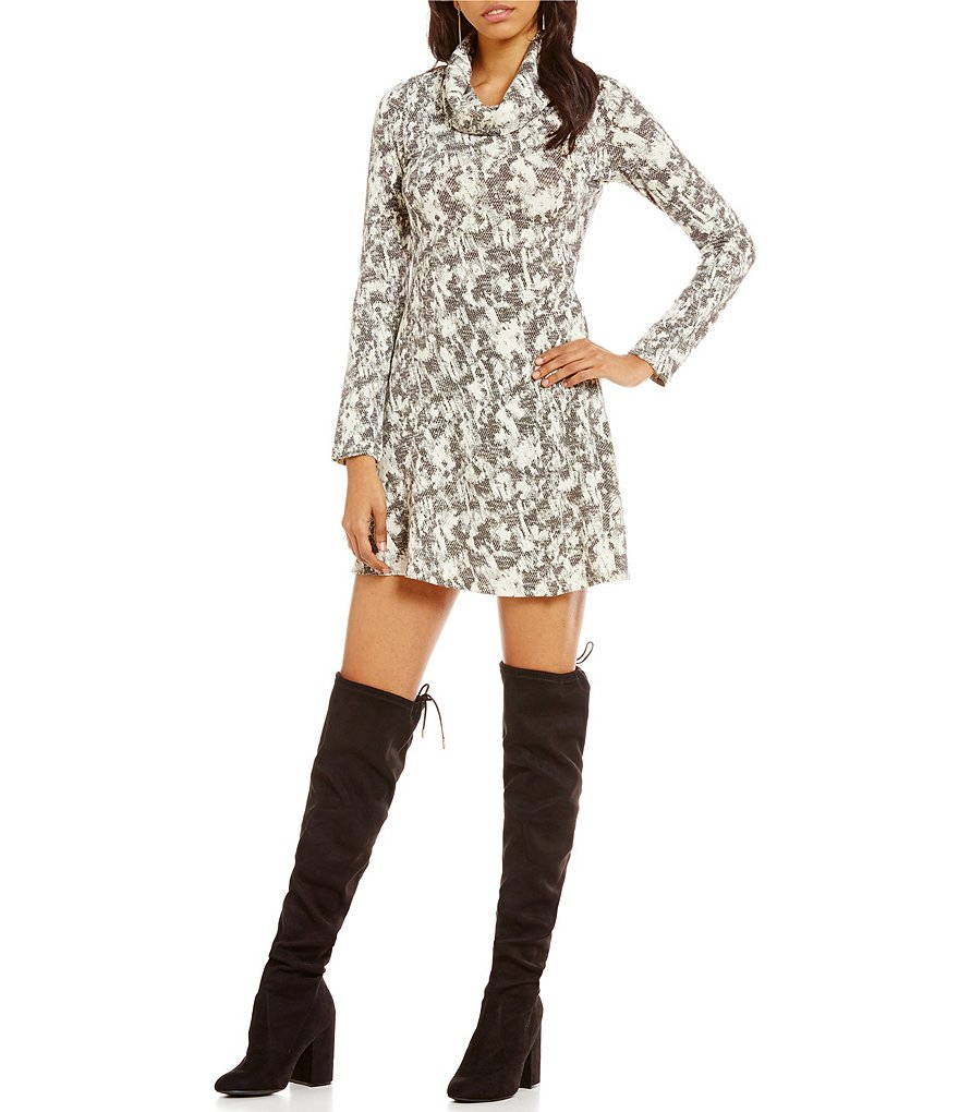Sugarlips Printed Cowl Neck Fit-And-Flare Dress