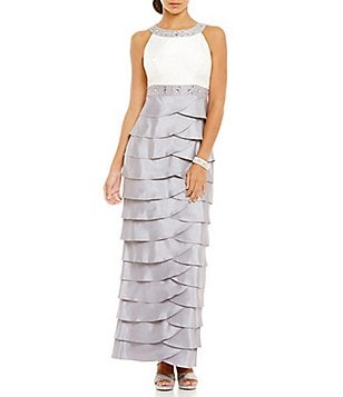 Jessica Howard Beaded Tiered Empire Waist Gown