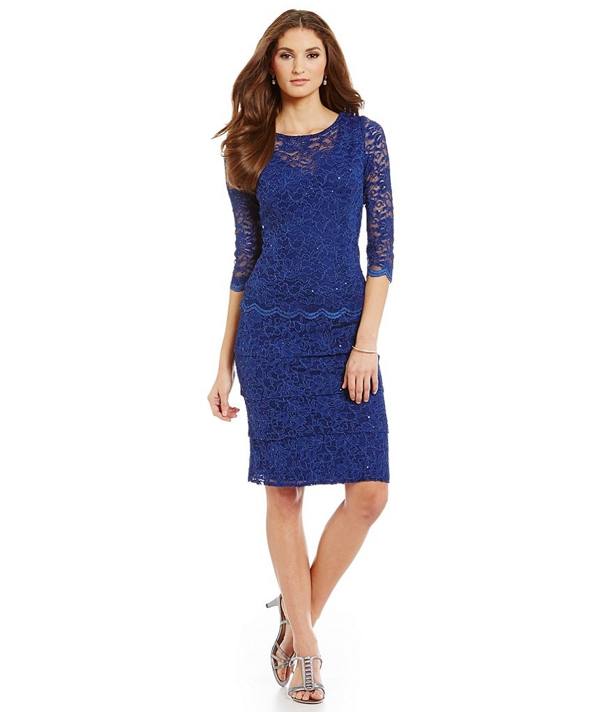 Alex Evenings 3/4 Sleeve Scalloped Lace Tiered Sheath Dress