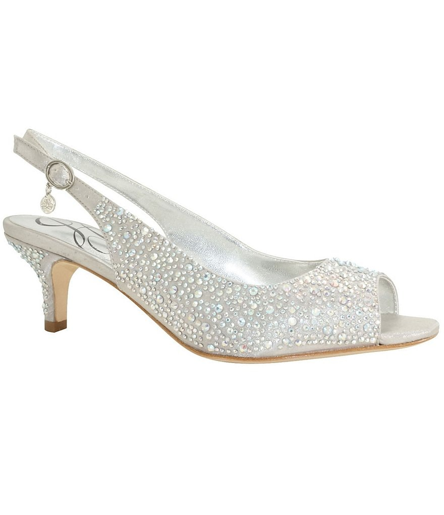 J. Renee Impuls Jeweled Peep-Toe Slingback Kitten Pumps