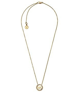Michael Kors Logo Pavé Pendant Necklace