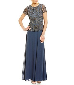 Pisarro Nights Mock 2-Piece Beaded Bodice Gown