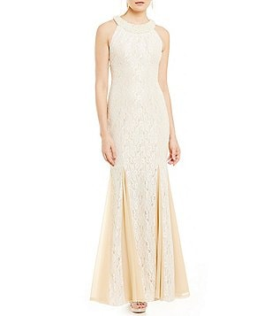 Cachet Beaded Halter Neckline Lace Gown