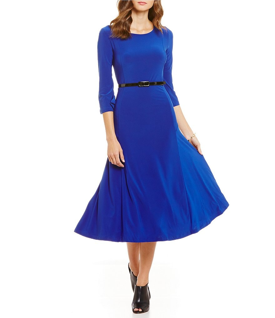 Investments 3/4 Sleeve Belted Knit Dress