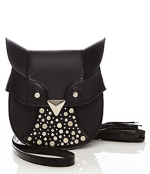 Luana Italy Minerva Owl Cross-Body Leather Studded Bag