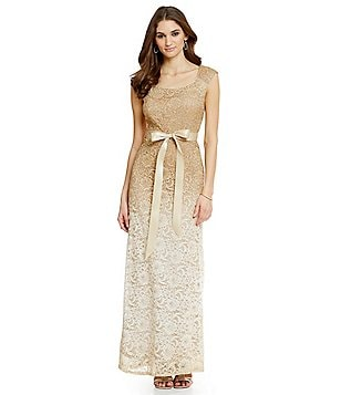 R & M Richards Belted Ombre Long Lace Gown