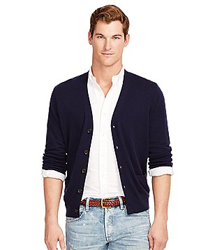 Polo Ralph Lauren Merino V-Neck Elbow Patch Cardigan