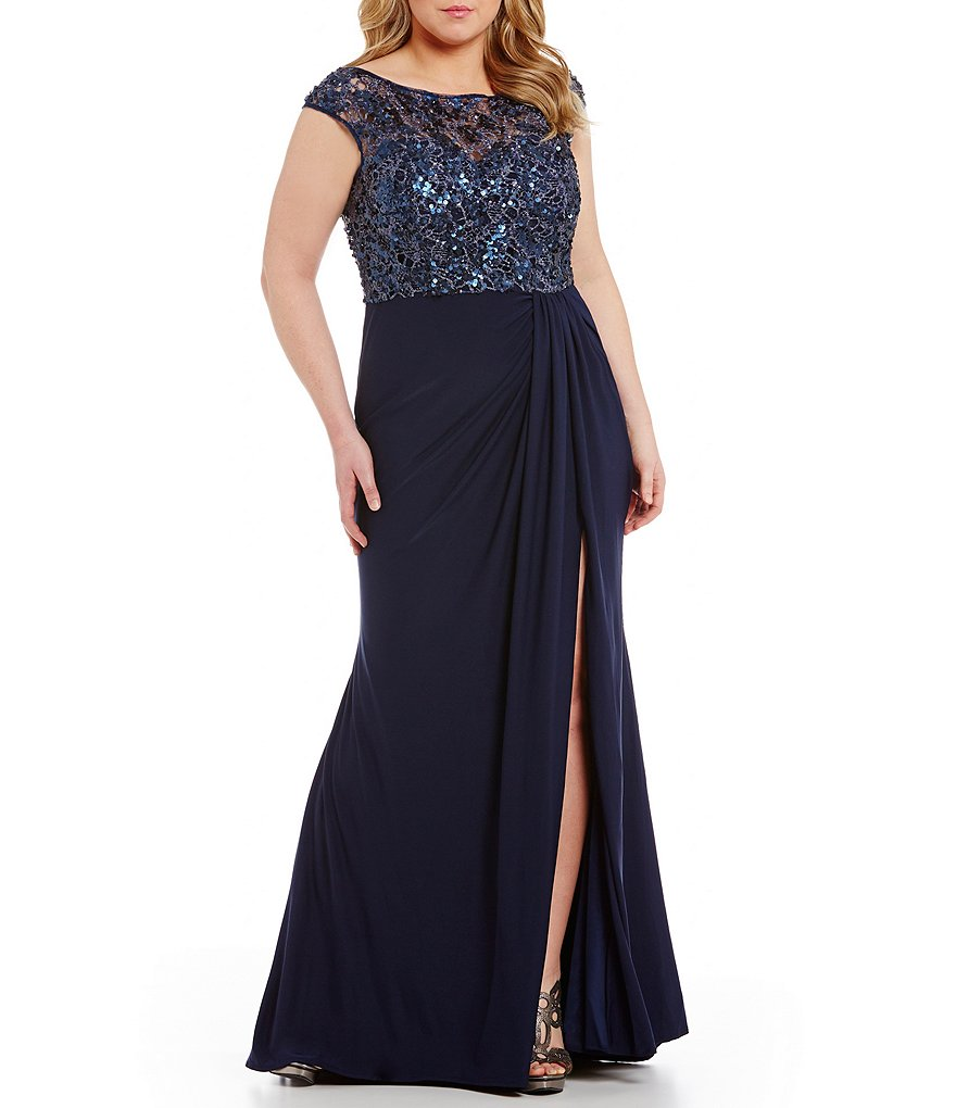 Mac Duggal Plus Sequined Lace Bodice Gown