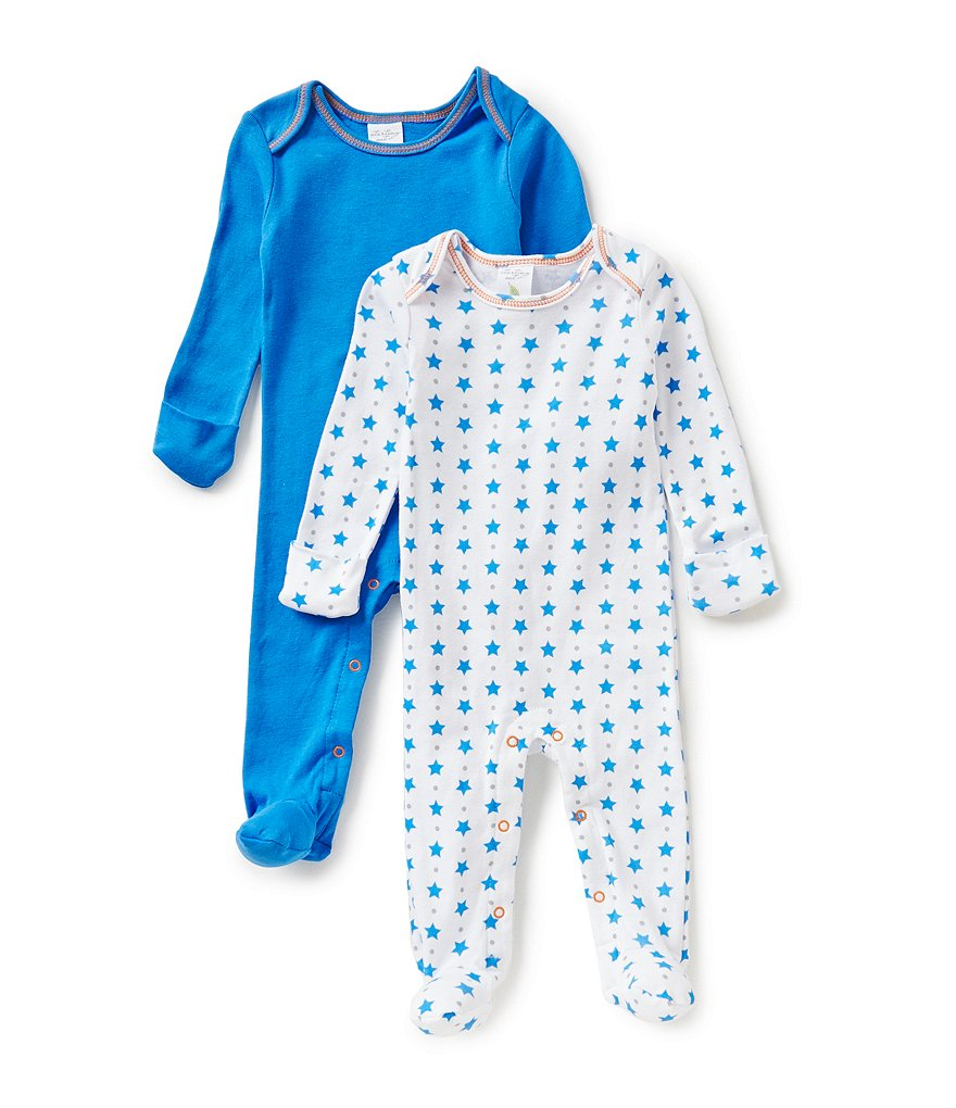 Starting Out Baby Boys Newborn-6 Months 2-Pack Star Printed Footed Coveralls