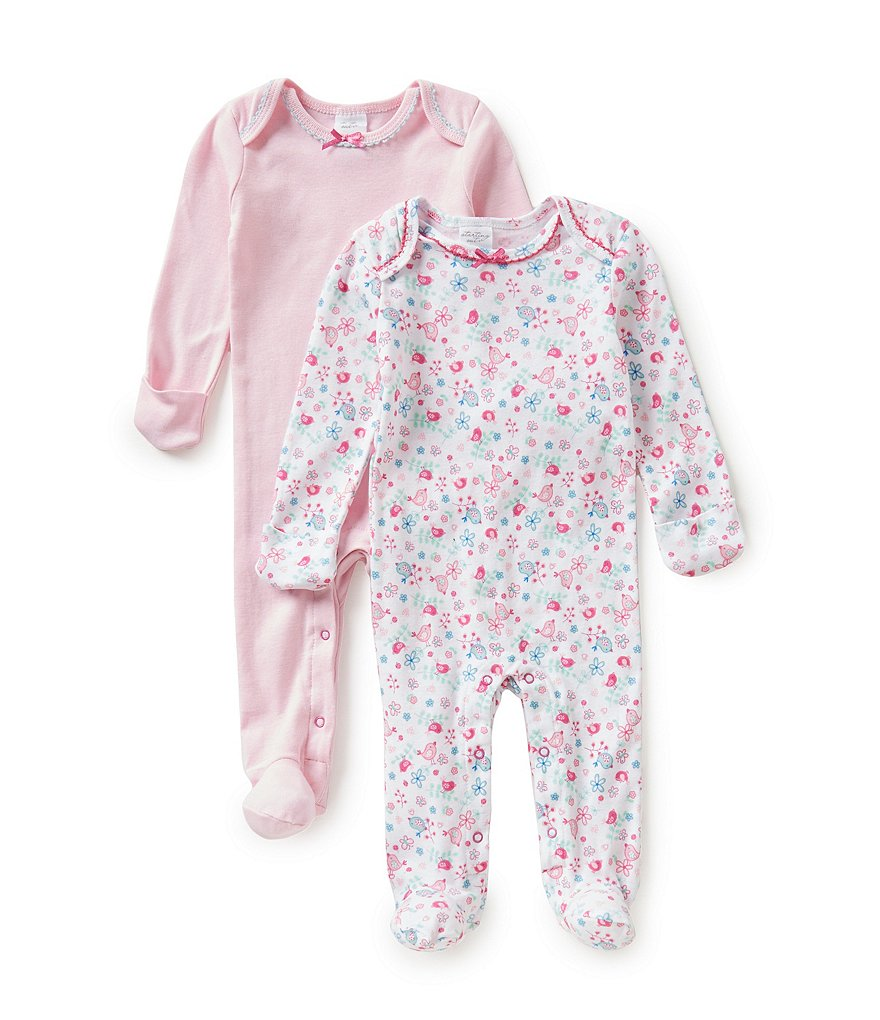 Starting Out Baby Girls Newborn-6 Months 2-Pack Bird Coveralls
