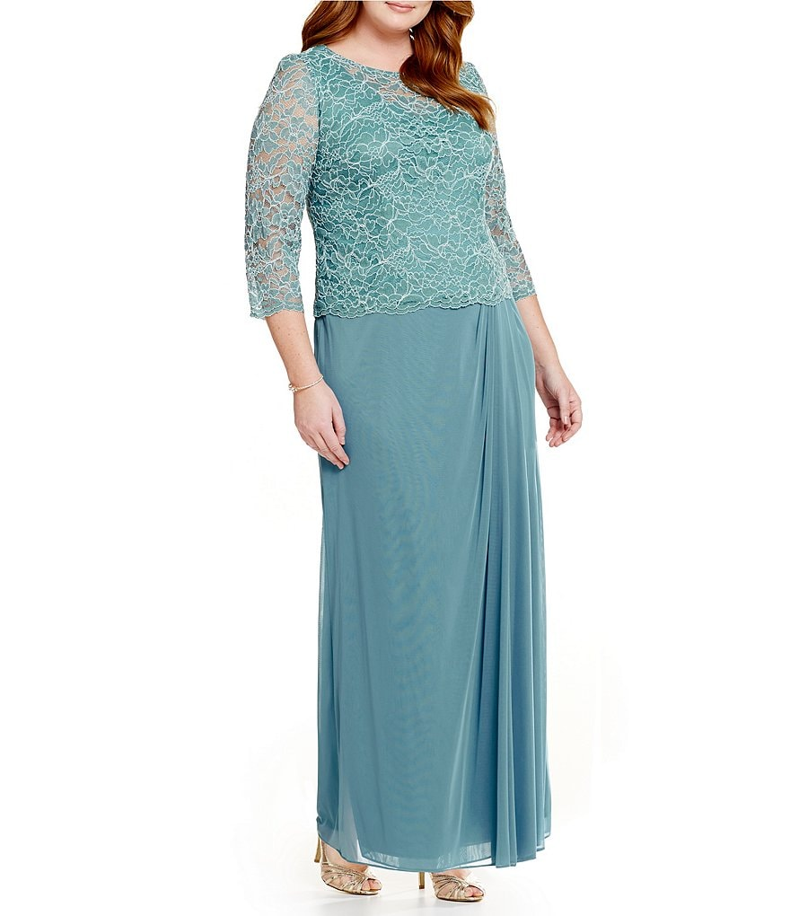 Alex Evenings Plus 3/4 Sleeve Lace Dress