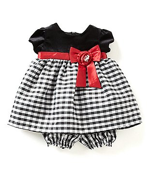 Jayne Copeland 3-24 Months Velvet-Bodice Checked-Skirt Christmas Dress