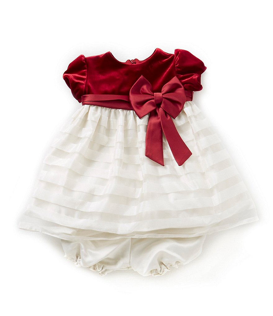 Jayne Copeland 3-24 Months Velvet-Bodice Shadow-Stripe-Skirt Christmas Holiday Dress