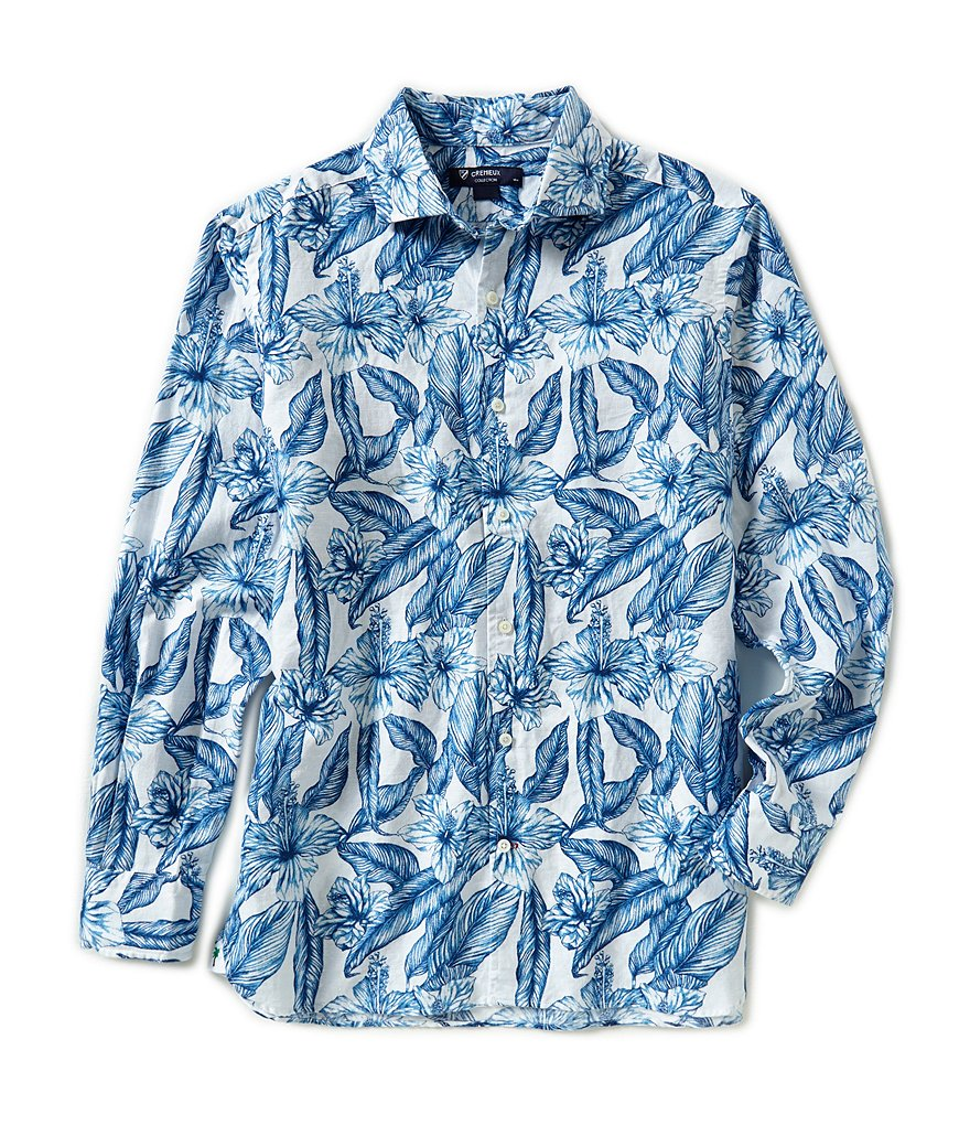 Cremieux Long-Sleeve Hibiscus Print Woven Shirt