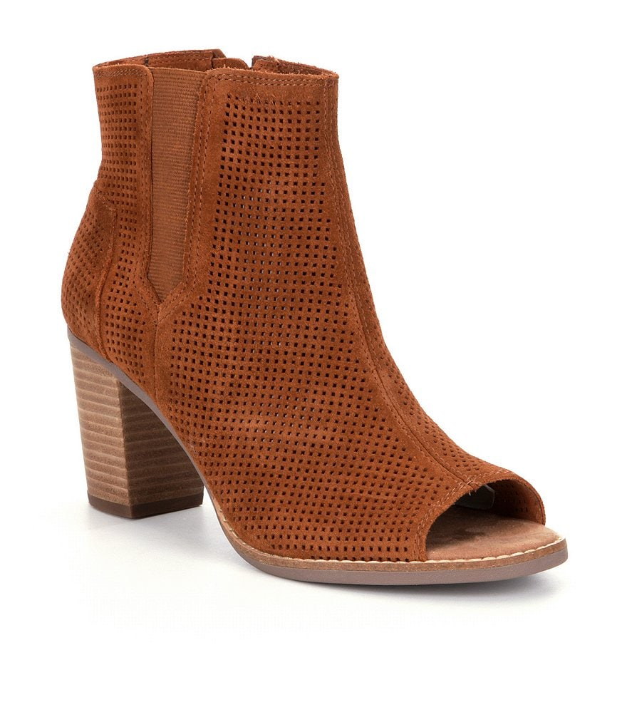 TOMS Majorca Perforated Peep-Toe Booties