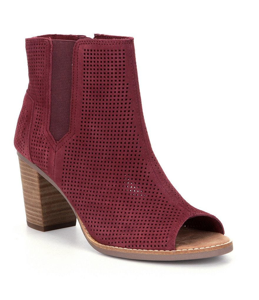 TOMS Majorca Perforated Suede Peep-Toe Booties