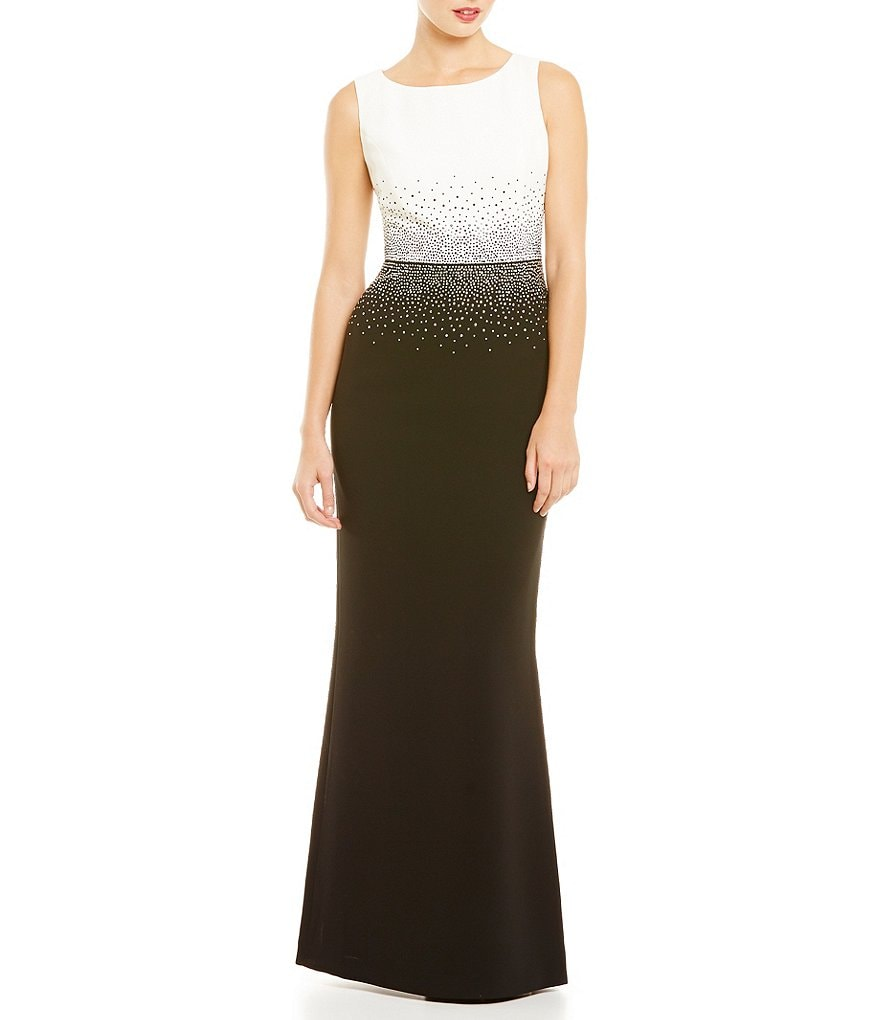 Calvin Klein Sequin Color Block A-line Gown