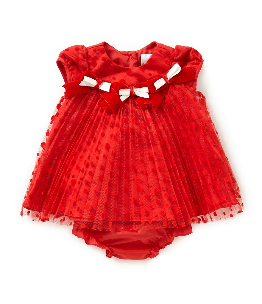 Rare Editions 3-24 Months Flocked Mesh Christmas Holiday Dress