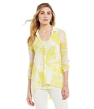 John Mark Printed V-Neck Blouse