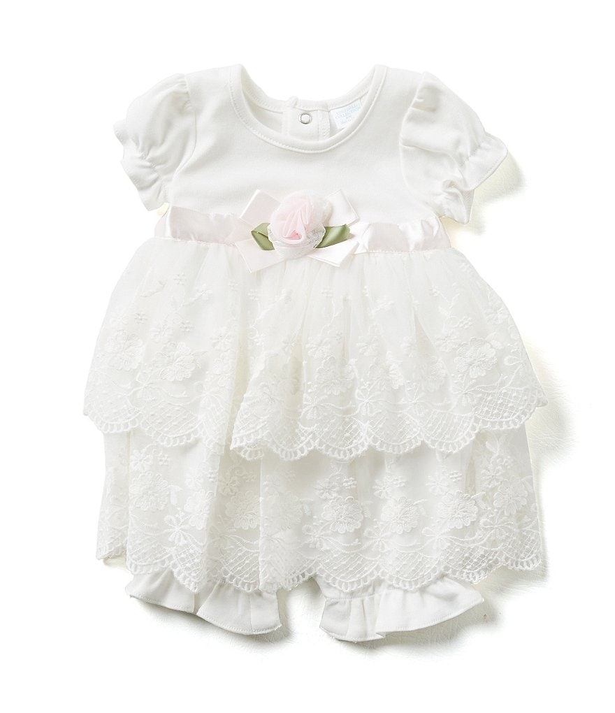 Edgehill Collection Baby Girls Newborn-6 Months Lace Romper