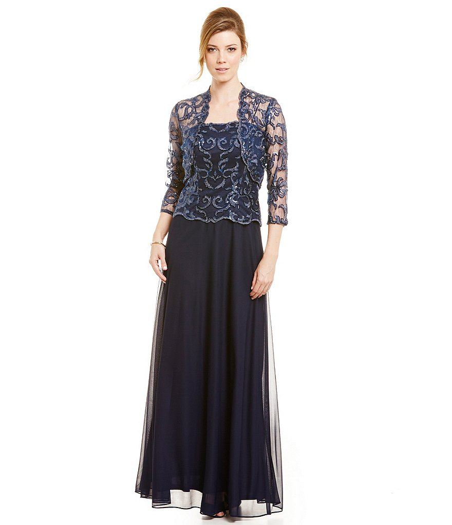 Cachet Sequin Lace Coverlet Jacket Dress Gown