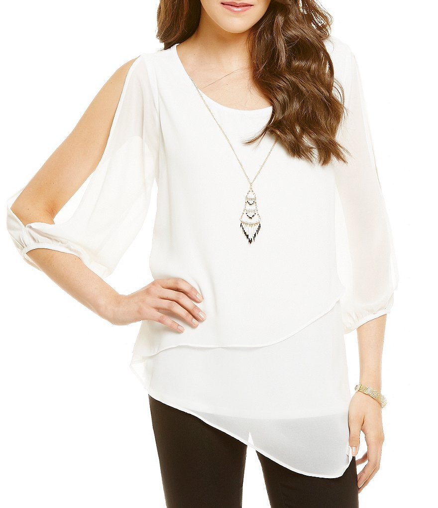 I.N. San Francisco Asymmetrical Hem Cold-Shoulder Top