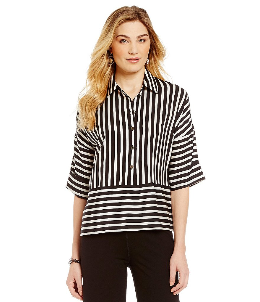 John Mark Striped Dolman Blouse