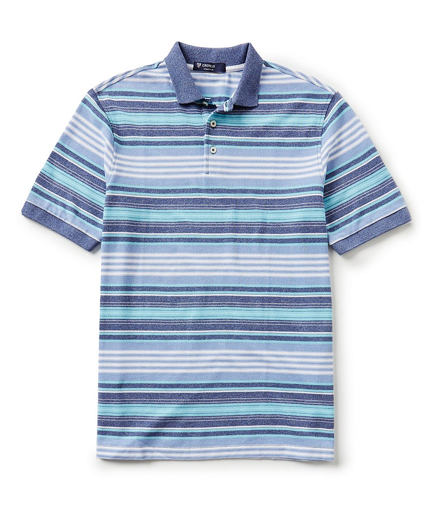 Cremieux Short-Sleeve Siro Pique Horizontal Multi-Stripe Polo Shirt