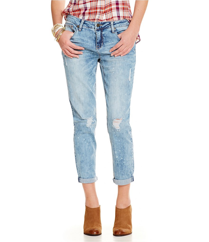 Celebrity Pink Distressed Girlfriend Ankle Jeans