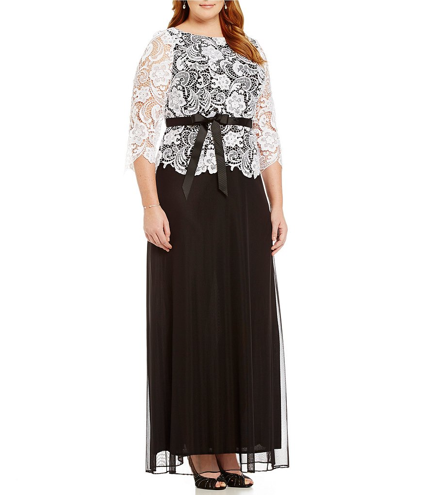 Alex Evenings Plus Illusion Lace Two-Tone Gown
