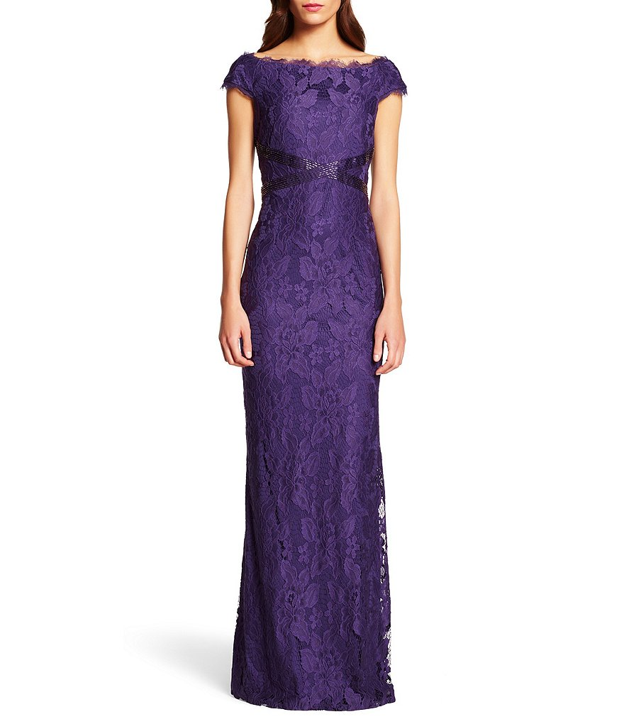 Adrianna Papell Beaded Waist Boat Neck Gown