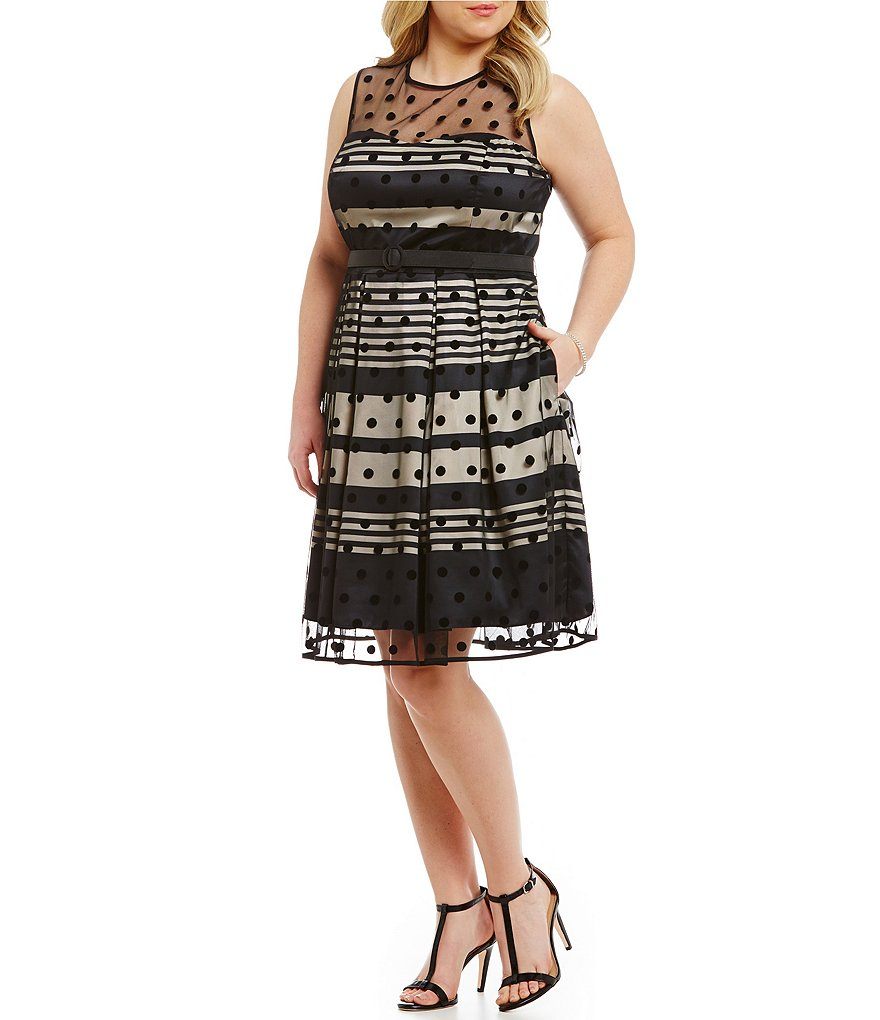 Eliza J Plus Polka-Dot Striped Fit-and-Flare Party Dress