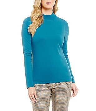 Pendleton Long Sleeve Mock Neck Silk Blend Knit Top