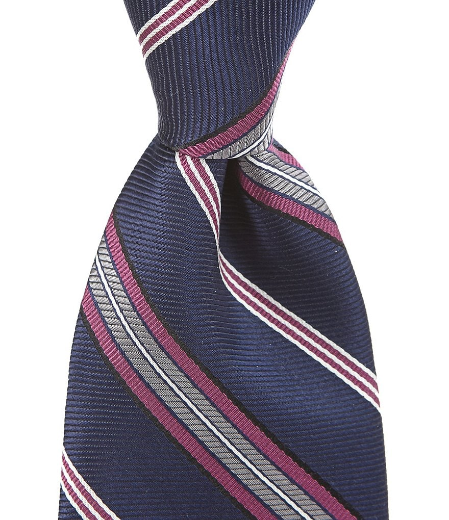 Roundtree & Yorke Trademark Pawn Stripe Traditional Silk Tie