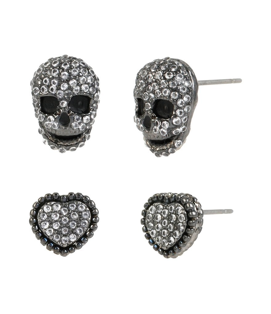 Betsey Johnson Cubic Zirconia Pavé Heart & Skull Stud Earring Set