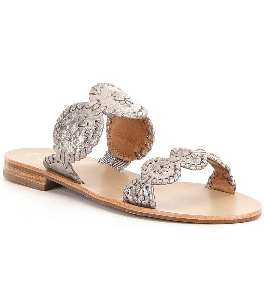 Jack Rogers Lauren Patent Whipstitched Double Banded Sandals