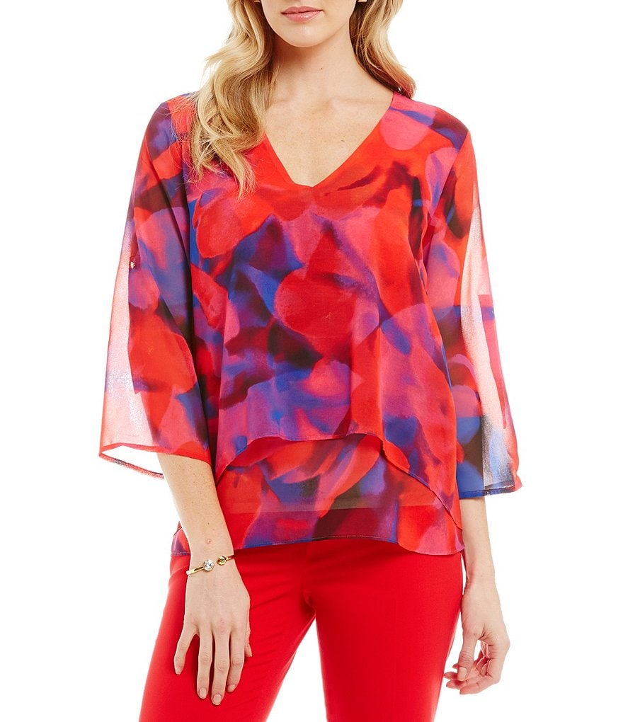 Chaus Vibrant Blooms-Print Double Layer Sharkbite Top