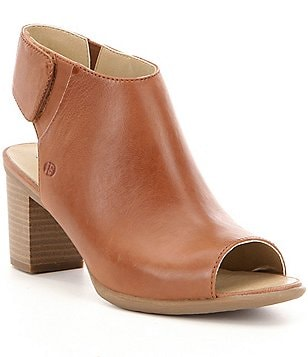 Josef Seibel Bonnie 09 Leather Peep Toe Stacked Block Heel Booties