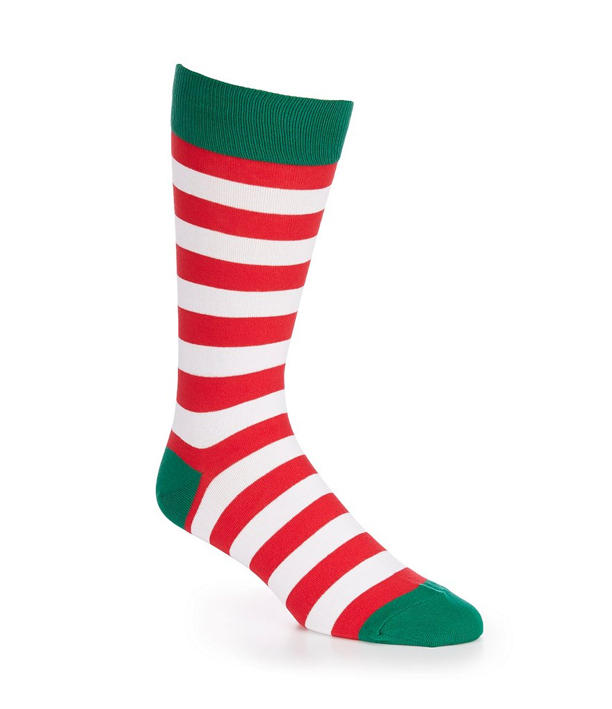 Hot Sox Christmas Holiday Stripe Crew Socks