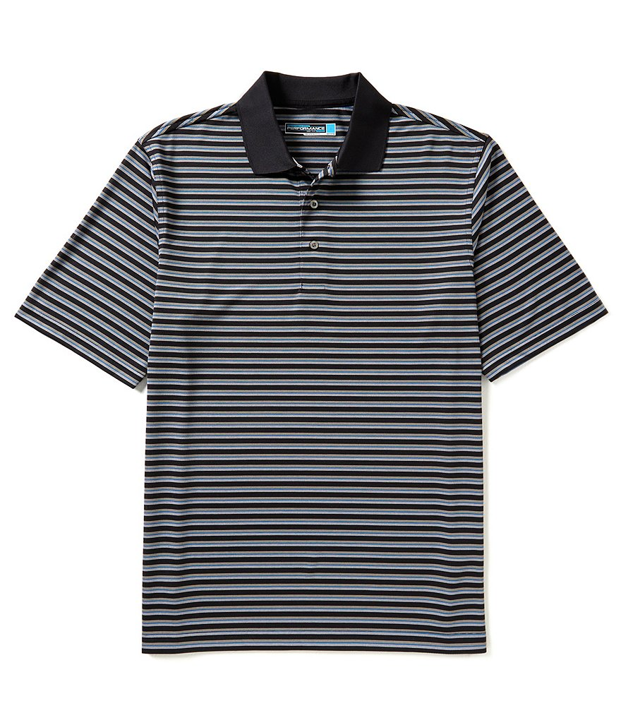 Roundtree & Yorke Performance Short Sleeve Horizontal Stripe Polo