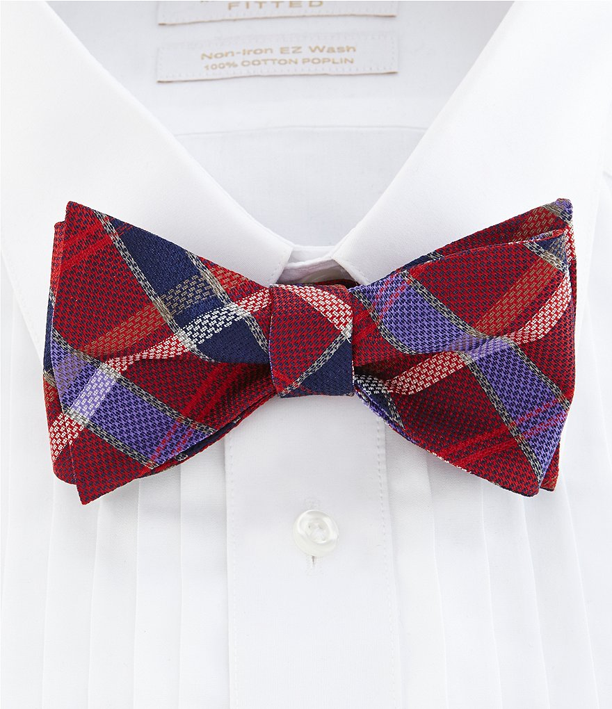 Cremieux Natte Plaid Silk Bow Tie