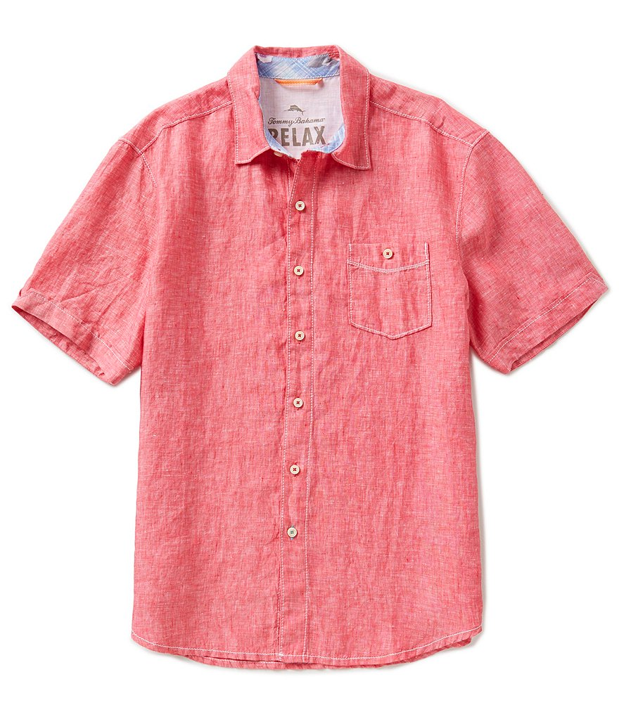 Tommy Bahama Short-Sleeve Party Breezer Solid Woven Shirt