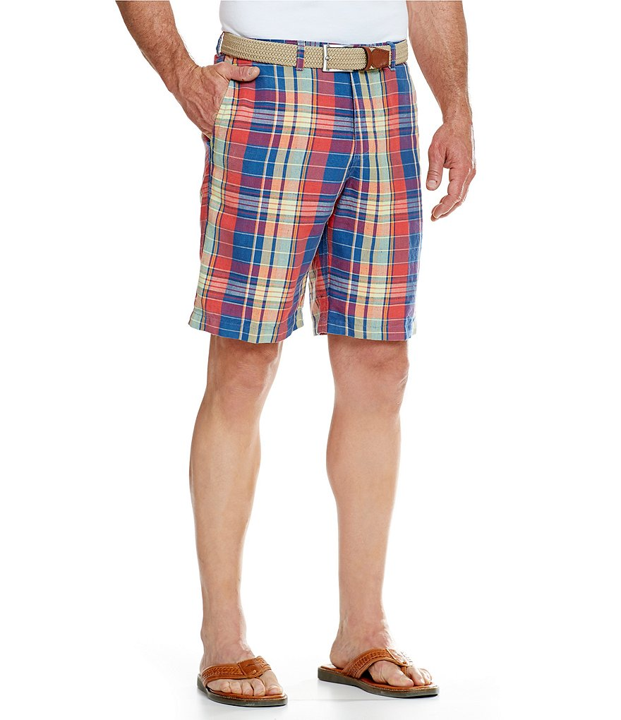 Tommy Bahama Moulin Madras Flat-Front Shorts