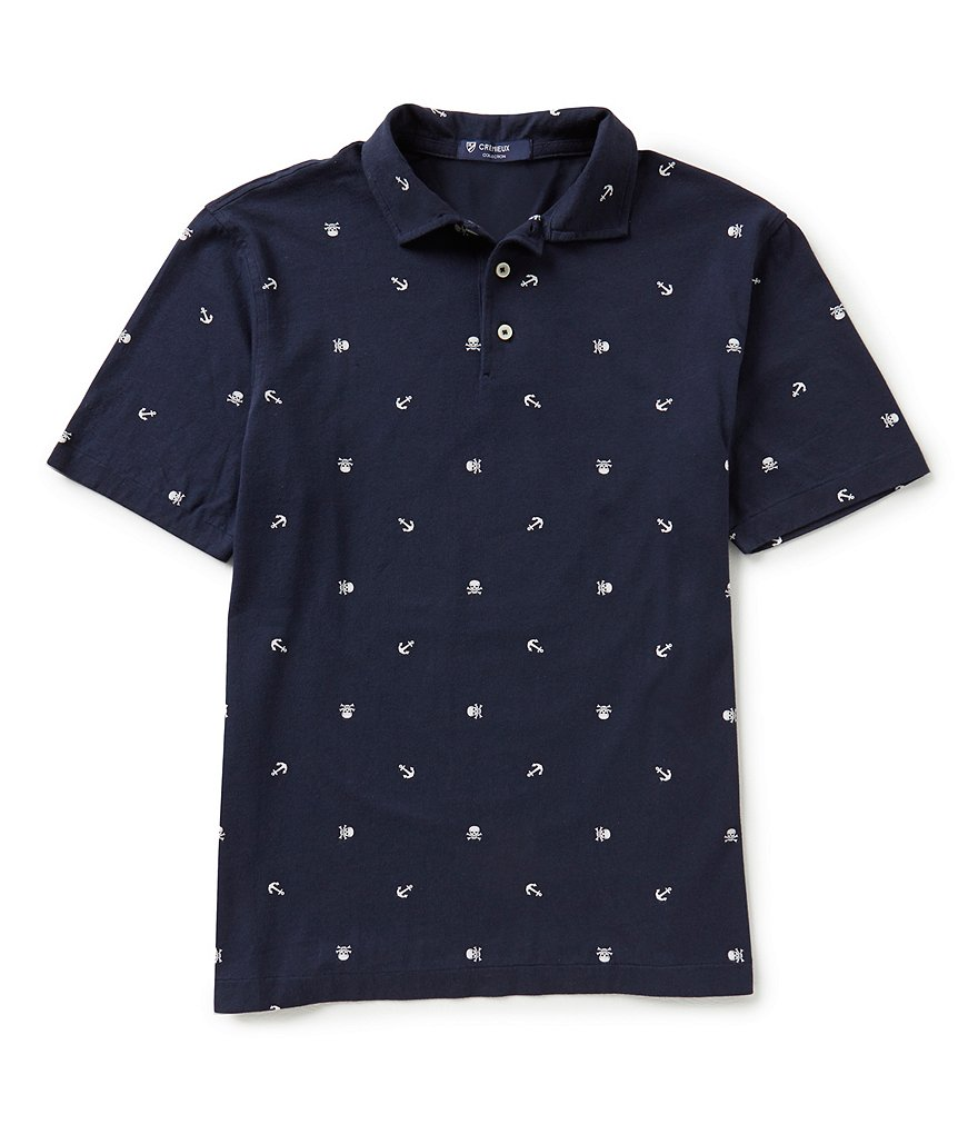 Cremieux Short-Sleeve Critter Repeating Print Jersey Pique Polo Shirt