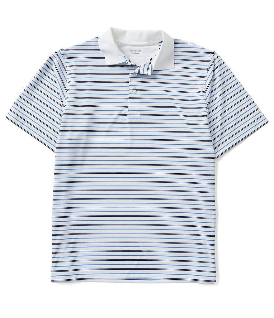 Roundtree & Yorke Travel Smart Short Sleeve Auto Horizontal Stripe Polo